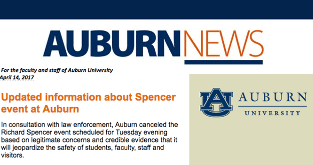 "Last Friday, the school released a statement saying it ""strongly deplores"" Spencer's views and ""encourage the campus community to respond to speech they find objectionable with their own views in civil discourse and to do so with respect and inclusion."""