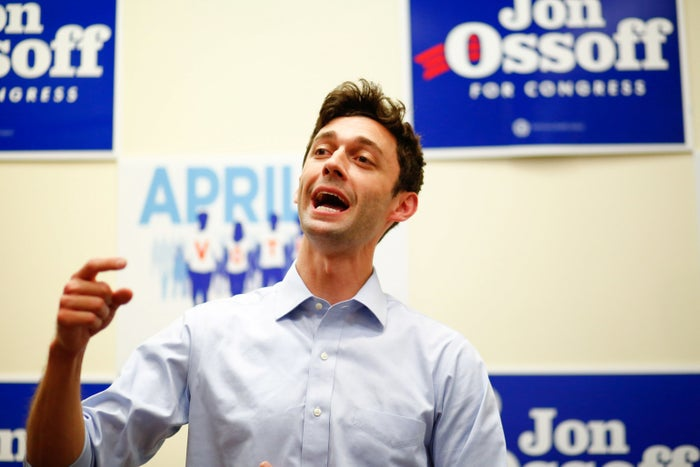 Democratic candidate Jon Ossoff for Georgia's 6th Congressional District special election speaks during an election eve rally.