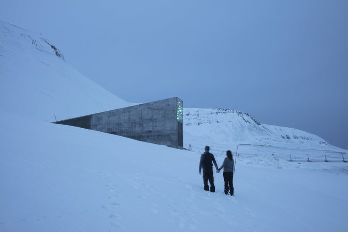 The photographer and his girlfriend in front of the Global Seed Vault in Svalbard.