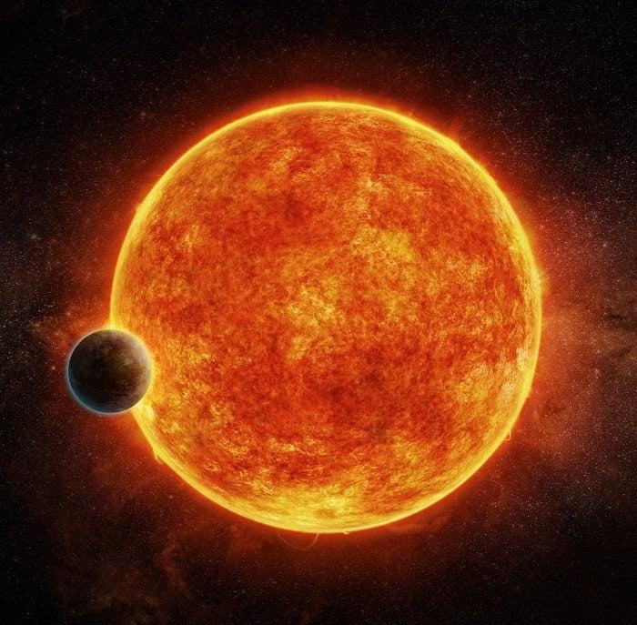 Artist's impression of LHS-1140b around its star.