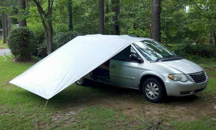 Secure A Tarp With Bungee Cords For Porch That Will Keep Out The Rain Without Having To Close Your Car Doors So You Can Still Smell