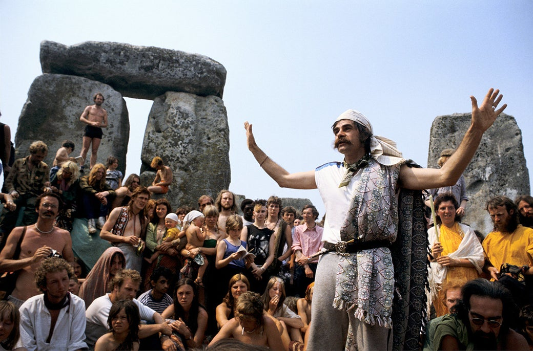Hippies gather at Stonehenge in the UK to mark the summer solstice in 1972.
