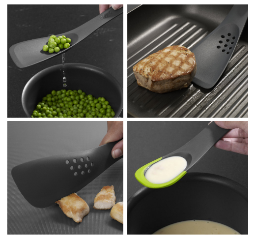 """Promising review: """"I like this, it is a great multi-use tool. Very handy."""" --LizYou can use it as a slotted spoon, turner, solid spoon, spatula, or a cutting tool.Get it on Amazon for $7.99 (down from $9.99)."""