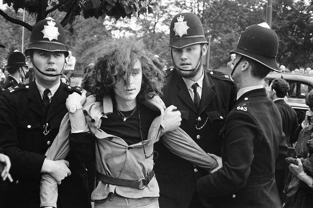 A young Piccadilly squatter is evicted by London police in1969.