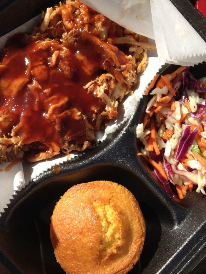 Meat that falls off the bone. Cornbread, coleslaw, and other tasty fixin's. It's finger lickin' good.
