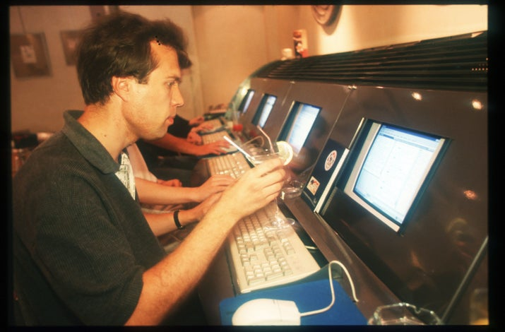 Russians visit a cybercafé on July 25, 1997, in Moscow.