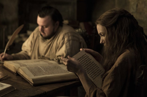 Sam and Gilly reading a few books that they presumably found in the Citadel.