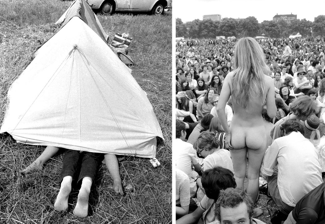 Left: A young couple are caught making love inside their tent at the Isle of Wight Festival in 1969. Right: A nude woman stands before a crowd at a concert in Hyde Park in 1970.