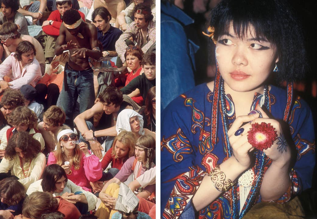 Left: Fans wait for the Rolling Stones to perform in London's Hyde Park during July 1969. Right: A young woman wearing fresh flowers, body paint, and vivid colors.
