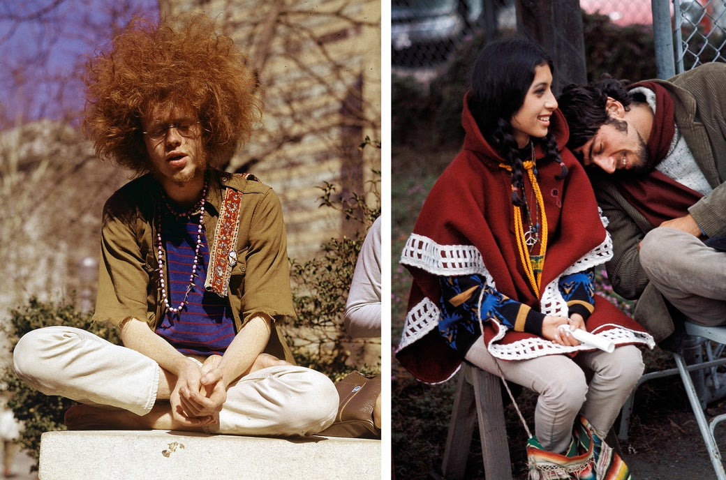 Left: A young hippie sits cross-legged in a New York City park in 1969. Right: A couple waits for the start of the Monterey Pop Festival in California in 1967.
