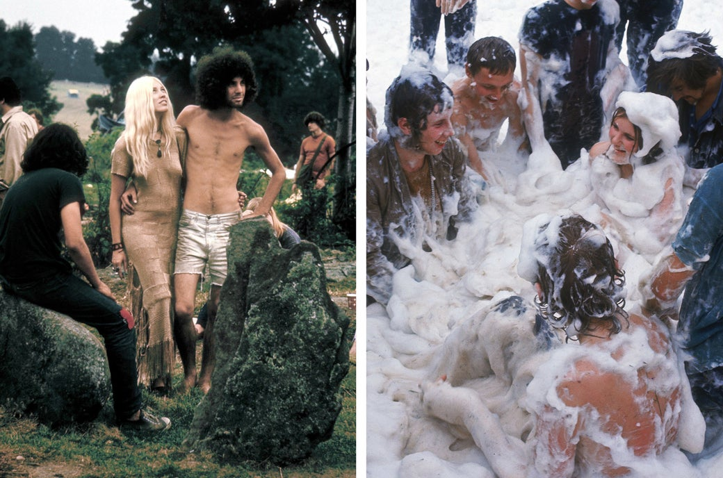 Left: A couple pose together during the Woodstock Music and Arts Fair in 1969. Right: A group of people frolic in a pile of foam at the Isle of Wight Festival.
