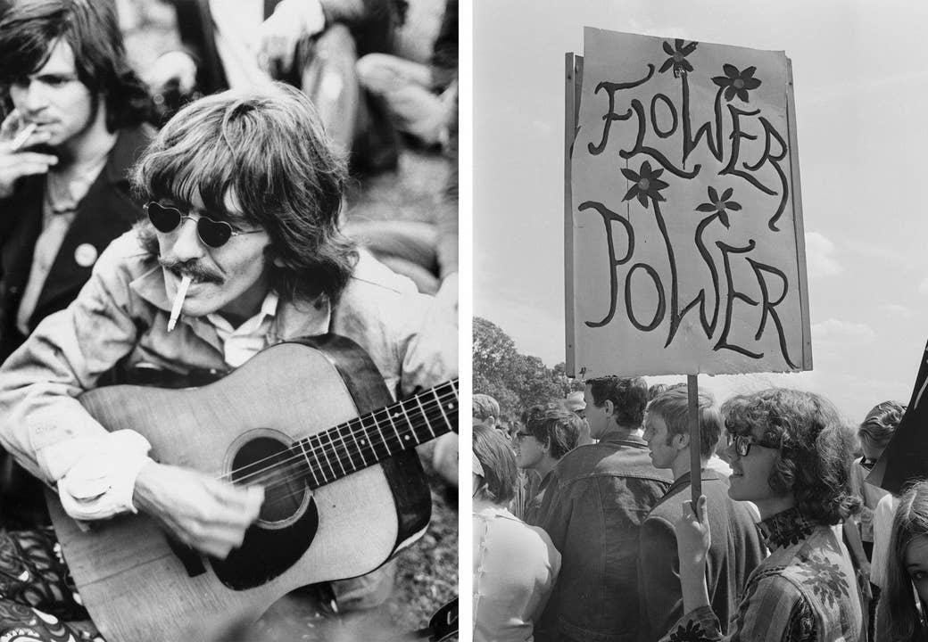 Left: George Harrison strums a borrowed guitar among a crowd of local hippies strolling through San Francisco's Golden Gate Park in 1967. Right: Demonstrators march in support for the legalization of drugs in London's Hyde Park in 1967.