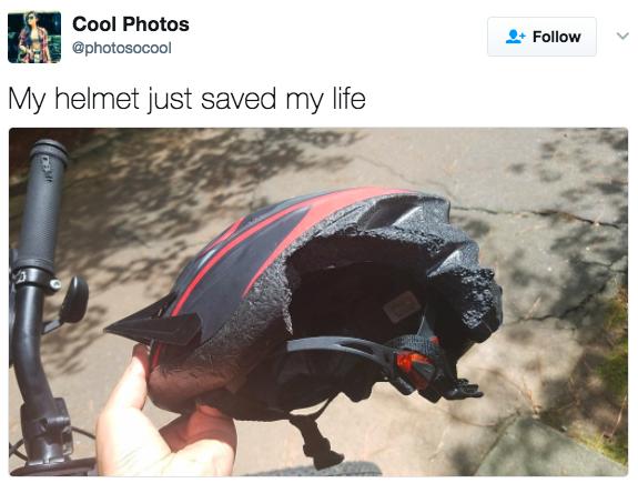 'Meu capacete acabou de salvar minha vida.'