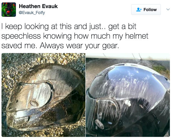 'Fico olhando para isso e só... fico sem palavras ao ver o quanto meu capacete me salvou. Sempre use seus equipamentos.'