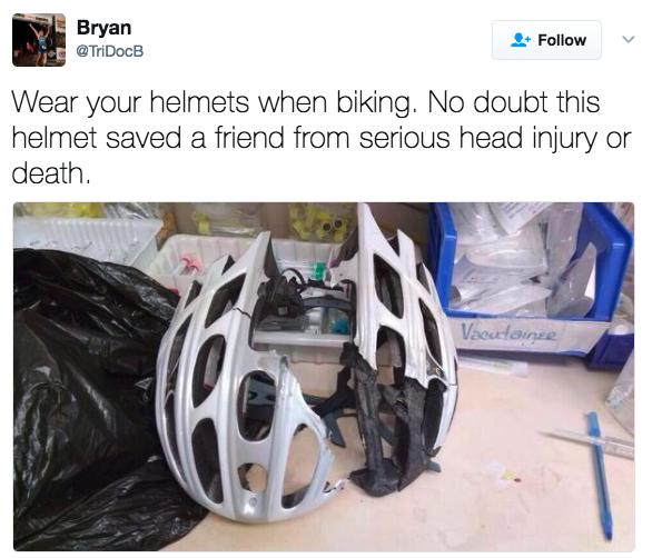 'Use seu capacete quando estiver pedalando. Sem dúvida esse capacete salvou meu amigo de um ferimento sério na cabeça ou da morte.'