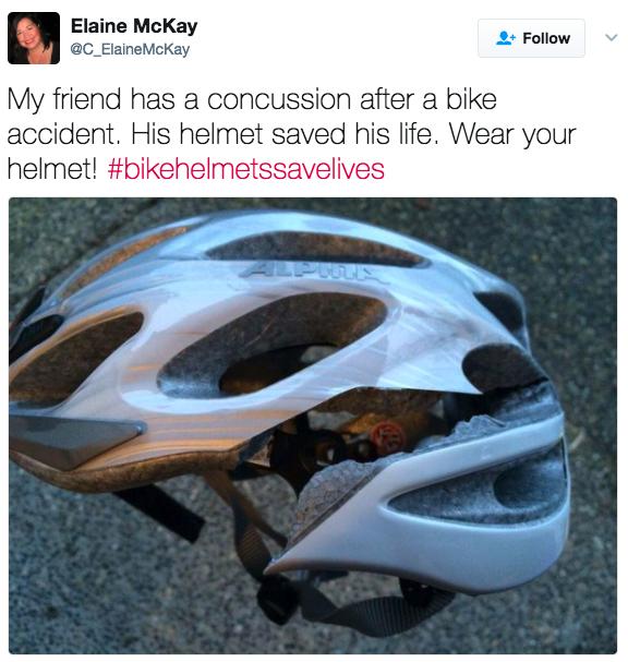 'Meu amigo sofreu uma concussão depois de um acidente de bicicleta. O capacete salvou a vida dele. Use seu capacete!'