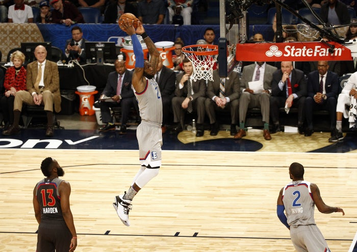 LeBron James dunks during the 2017 NBA All-Star Game.