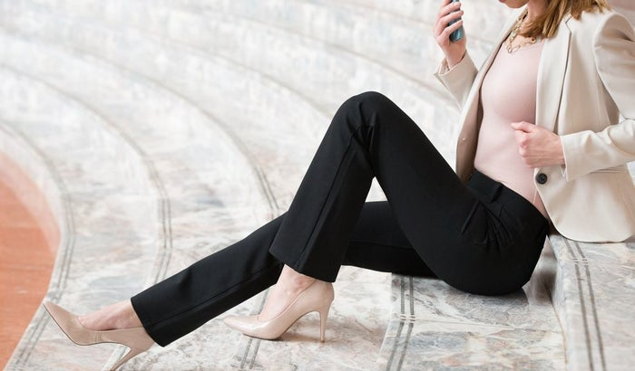 "Promising review: ""I am an attorney, and I love that I can wear these pants to work with a blouse and no one realizes I'm in yoga pants. The material is soft and has a finish that makes them look like proper suiting material."" —Alexandra M.Get them from Betabrand for $78 (available in 13 colors and sizes XS–XXL)."