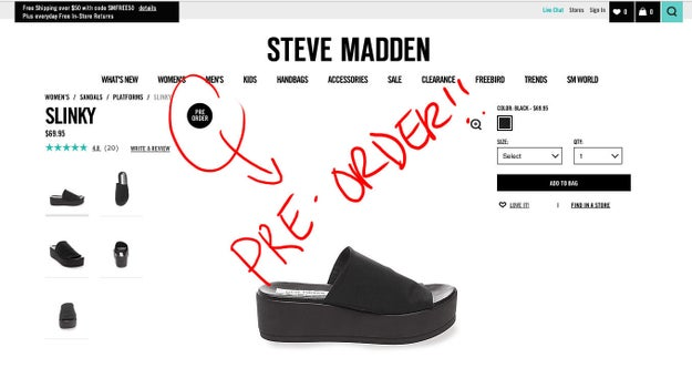 "The ""Slinky"" is currently only available for pre-order (at $69.95 a pop) on the Steve Madden site..."