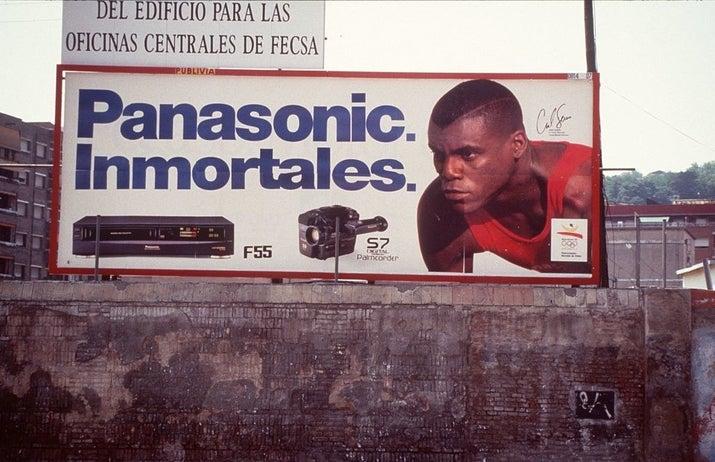 Publicidad de Panasonic en Barcelona en 1992.