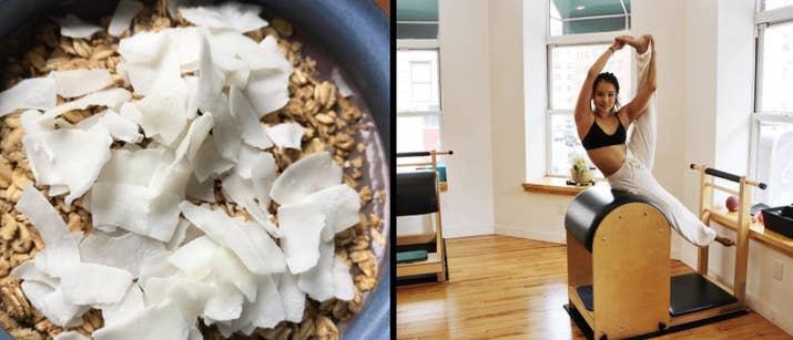 «Je mélange un paquet d'acai gelé de Trader Joe, de fruits surgelés, de poudre de protéines, de beurre d'amande, de miel et de lait d'amande pour faire un petit-déjeuner riche en protéines et fibres. La partie amusante est créative avec tout ce que vous voulez ajouter: j'aime personnellement ajouter un élément de crunch en incorporant de la noix de coco et / ou de la granola grillé. -Katie Yip, professeur de pilates basé à New York