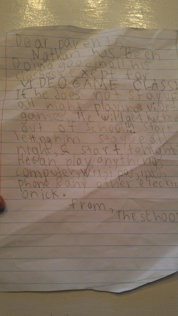 When Lori came home from work one day, she said she found this note sitting on a table at home.