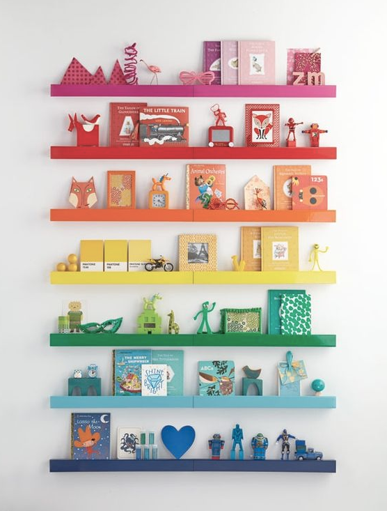 Display your treasures on a rainbow stack of shelves.