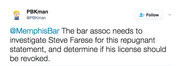 Some asked the Memphis Bar Association to determine if Farese's license to practice law should be revoked.