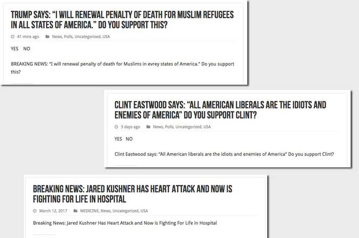 A selection of completely false stories from True Trumpers that include almost no body text.