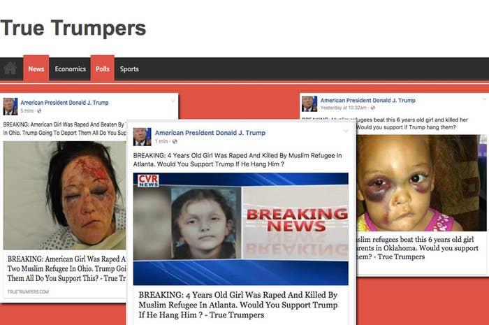 Three false headlines from TrueTrumpers.com.