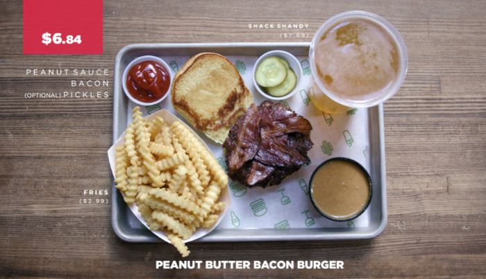 You can order this by asking for a regular burger topped with bacon, and then asking for a side of peanut butter sauce! Some people also like to add pickles...to which I say, .don't knock it 'til you try em!