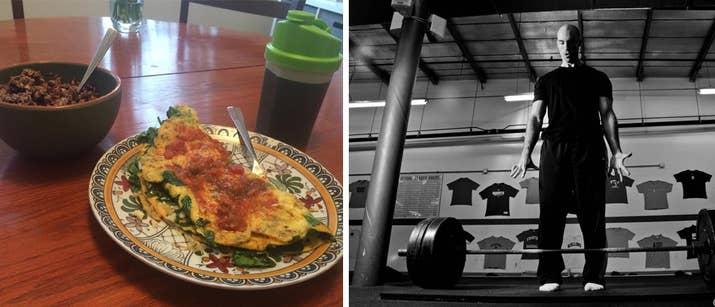 «Il s'agit d'une omelette à cinq oeufs au fromage et aux épinards et assaisonnée d'origan, de curcuma et de poivre, accompagnée d'une tasse de farine d'avoine faite avec un scoop de poudre de protéines et 1/2 tasse de myrtilles. Et à boire, un scoop de Verts athlétiques dans huit onces d'eau. Le petit déjeuner est généralement mon plus grand repas de jour. Je me fais presque toujours mourir de faim quand je me réveille et je suis excité tous les matins pour dévorer ce petit-déjeuner. Il faut moins de 10 minutes pour se préparer et est rempli de protéines et de glucides complexes. J'ai tendance à me diriger vers la salle de gym autour de 10-11 heures du matin, de sorte que ce petit-déjeuner me met en place pour une bonne séance d'entraînement chaque jour. (Un repas comme ça va alimenter une séance d'exercices lourds. Je vais habituellement à la salle de gym pendant 3 à 4 heures après ce repas et combiner de lourds tremblements ou des squats avec un tas d'accessoires pour compléter chaque ascenseur) .'- Tony Gentilcore,