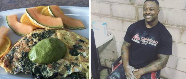 «Mon omelette du matin a beaucoup de protéines et aide à maintenir les niveaux d'énergie. L'omelette comprend: les œufs, le poulet, les épinards, les haricots noirs et les oignons, et il est jumelé au cantaloup, aux tranches d'orange et à l'avocat. Cette combinaison de repas contient des vitamines et des graisses saines pour aider à débuter votre journée de vacances. '- Granville Mayers, entraîneur personnel certifié et propriétaire de Athletic Leaders Fitness