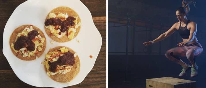 «C'est l'un de mes petits déjeuners préférés: les tortillas de maïs + les œufs (et parfois les blancs d'œufs supplémentaires) + la sauce aux pépites noires chipotle + la sauce chaude. Ils sont rapides et faciles à fabriquer, vous donner de bonnes protéines, de la graisse et des glucides, et il est beaucoup moins ennuyant que de cuisiner quelques œufs dans la poêle. »Erica Giovinazzo, diététiste, CrossFit Coach et Manager de BRICK Los Angeles