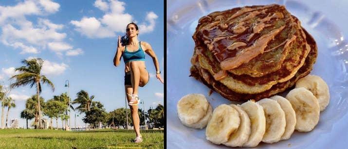 «Ces délicieuses crêpes de beurre de cacahuètes et de bananes sans farine sont riches en protéines et vous permettent de rester plus longtemps et plus énergivré. Ils font une alternative plus saine aux crêpes du matin! 'Obtenez la recette ici.-Idalis Velazquez, fondateur de IV Fitness