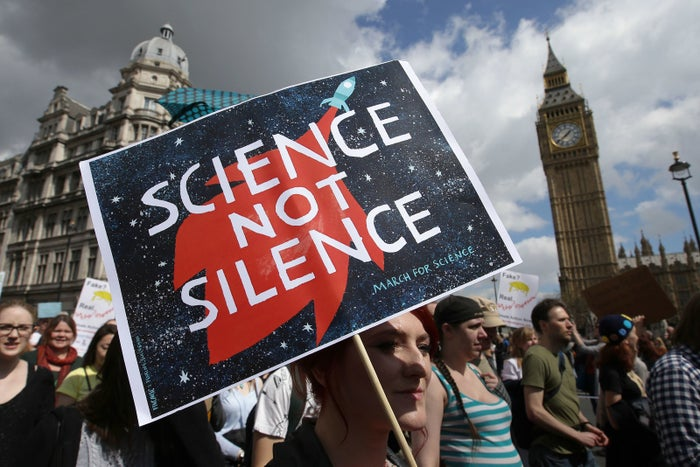 Supporters of science and research gather for the March for Science protest in London on Saturday.