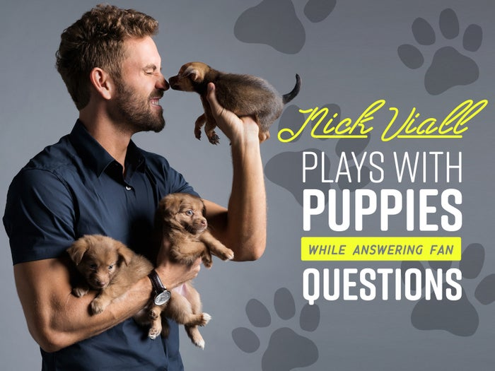 As if finding love on reality television wasn't enough, former star of ABC's The Bachelor Nick Viall is currently competing for the coveted Mirror Ball trophy on this season's Dancing With the Stars. The dancing wiz sat down with BuzzFeed to play with puppies (!!!!!) and answer YOUR most burning questions about love, life on television, the one and only Corinne, and his new whirlwind romance with fiancée Vanessa Grimaldi.