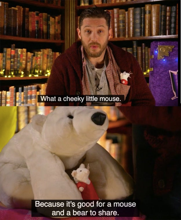 And in one of the stories he read for the channel, there was a toy mouse and a polar bear.