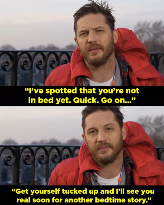 As you ABSOLUTELY ALREADY KNOW OBVIOUSLY, Tom Hardy has been doing a series of bedtime stories on CBeebies, the channel for young children.