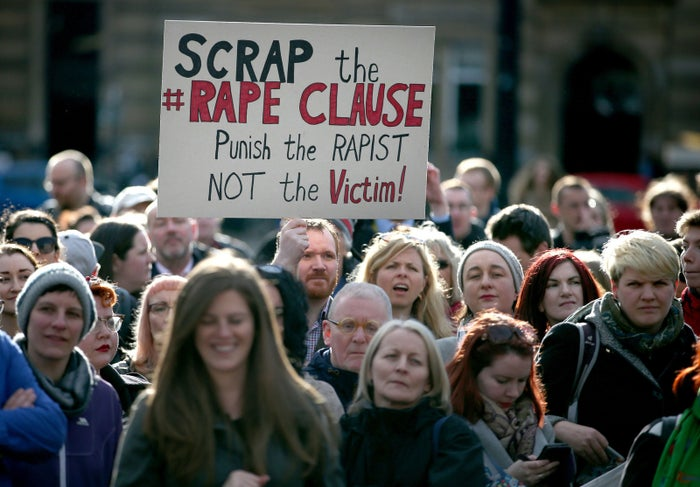 Campaigners protest in George Square, Glasgow, against the UK government's so-called rape clause for tax credits.