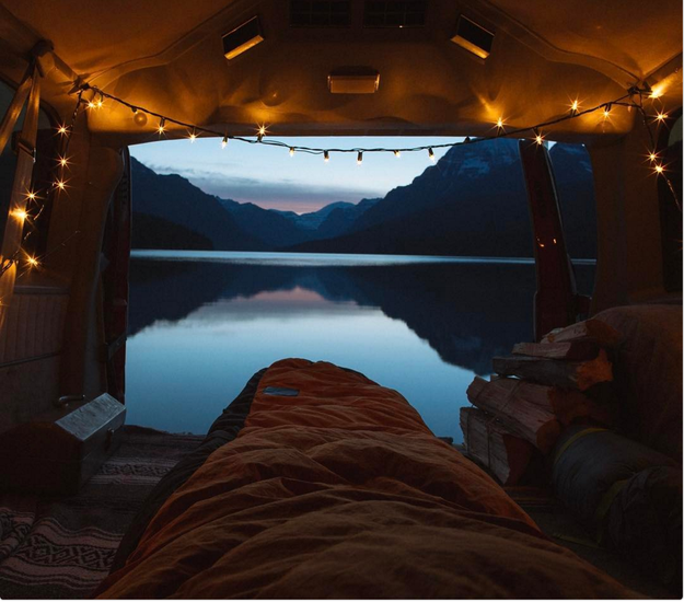 Hang battery- or solar-powered string lights to light up your cozy car-sleeping evenings.