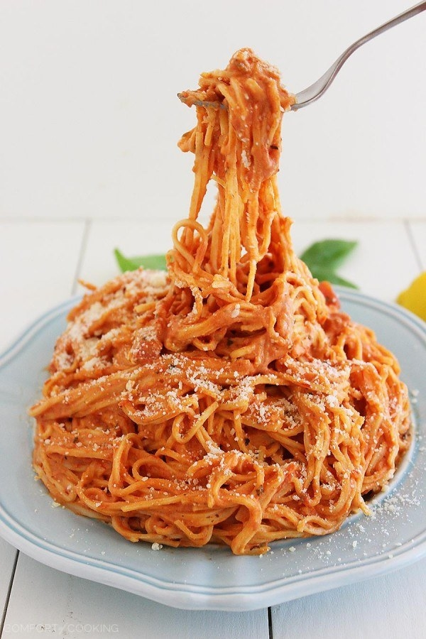 Creamy Tomato Angel Hair Pasta