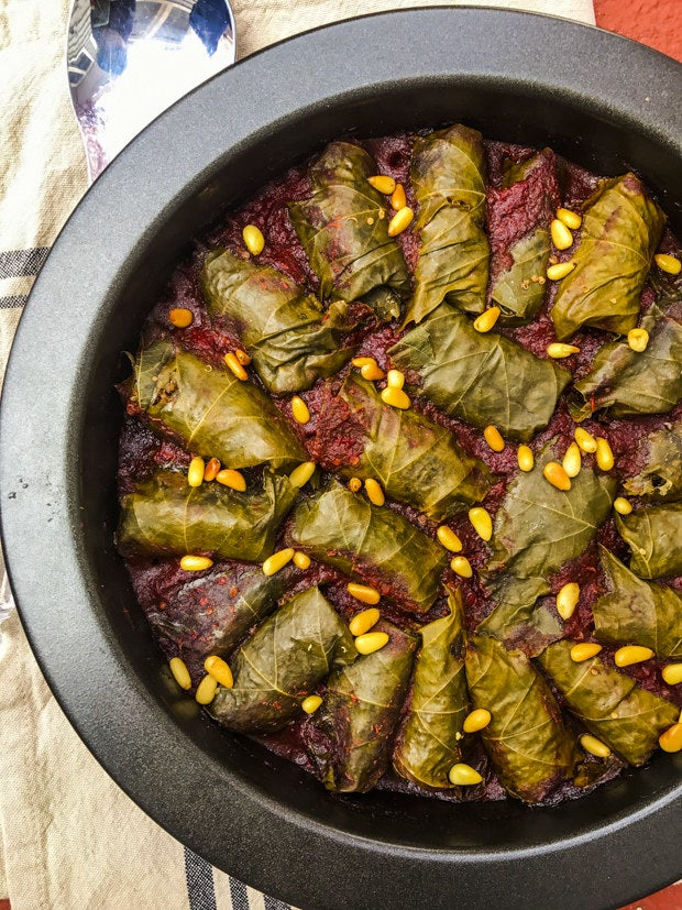 This recipe uses quinoa while traditional stuffed grape leaves, aka Dolma, are usually stuffed with rice. You can really use either, depending on your taste. Get the recipe here.