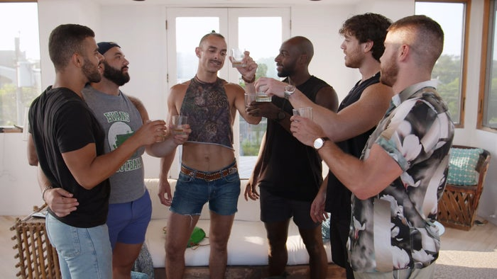 The cast of Fire Island. From left to right: Brandon, Justin, Patrick, Khasan, Jorge, and Cheyenne.