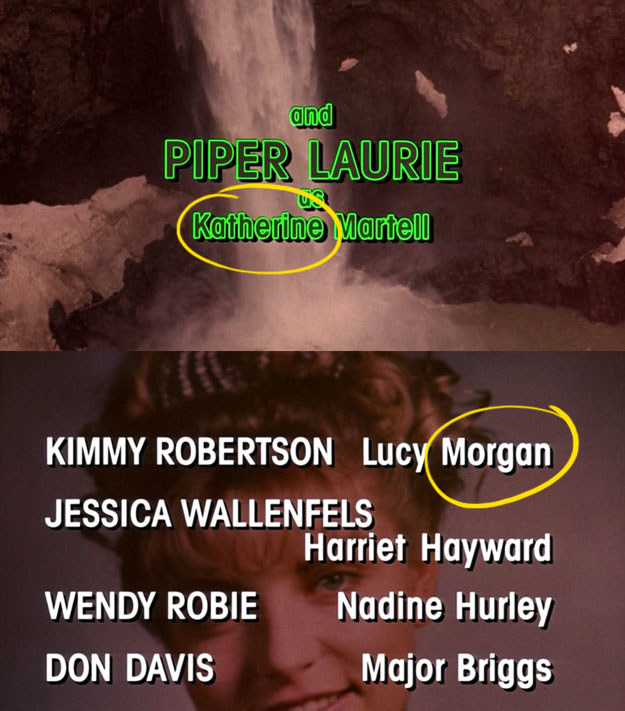Catherine Martell's and Lucy Moran's names are spelled wrong in the pilot episode credits.