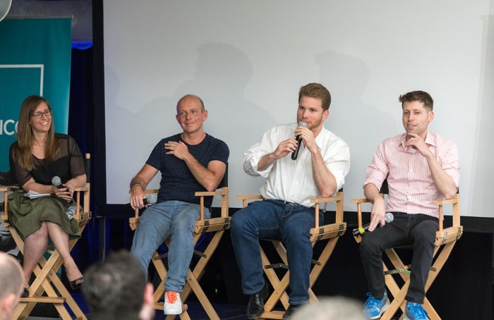 Moderator Katy Steinmetz from Time magazine, Crowdpac CEO Steve Hilton, Joe Lonsdale, general partner at 8VC, and Y Combinator's Sam Altman (left to right)