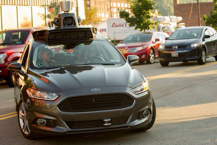 A self-driving Uber Ford Fusion in Pittsburgh, Pennsylvania.