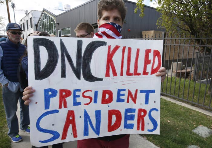 A protester outside the Perez-Sanders event in Salt Lake City.