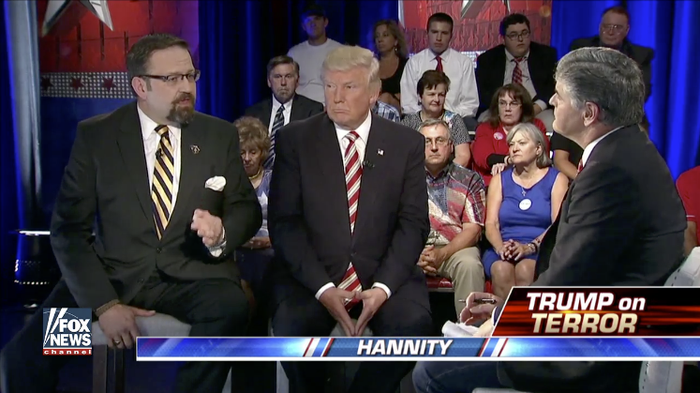 Gorka and Trump appear on Hannity, Aug. 18, 2016.