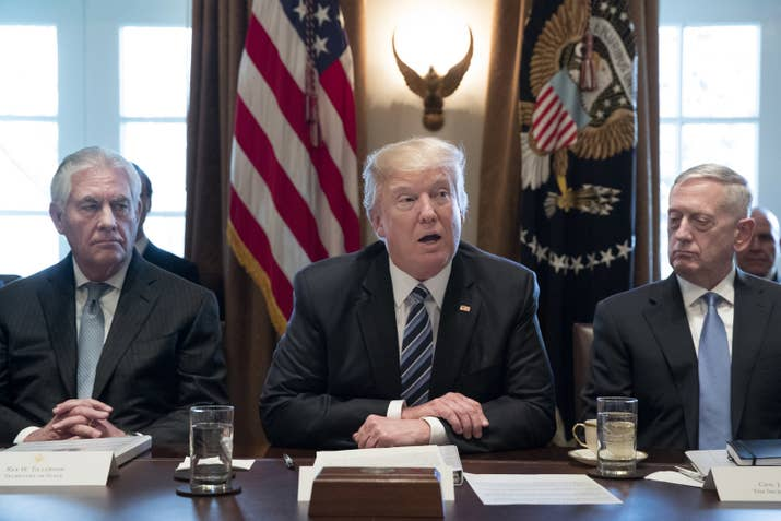 WASHINGTON, DC - MARCH 13: President Donald Trump holds a meeting with members of his cabinet including Secretary of State Rex Tillerson (L) and Secretary of Defense James Mattis (R) in the Cabinet Room of the White House on March 13, 2017 in Washington, DC. This was the first official meeting of Trump's cabinet. (Photo by Michael Reynolds-Pool/Getty Images)